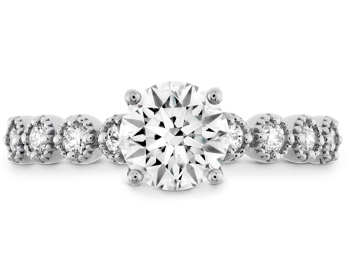 DIAMOND BAR SINGLE PRONG MILGRAIN ENGAGEMENT RING