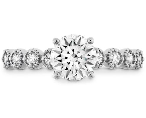 DIAMOND BAR SINGLE PRONG MILGRAIN ENGAGEMENT RING