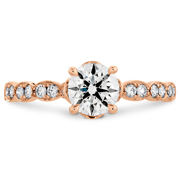 LORELEI FLORAL ENGAGEMENT RING-DIAMOND BAND - Rose Gold
