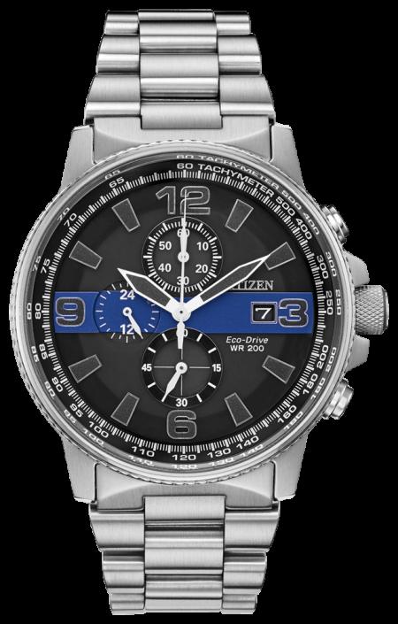 Citizen Men's Thin Blue Line Watch Chronograph 200M WR Eco Drive CA0291-59E