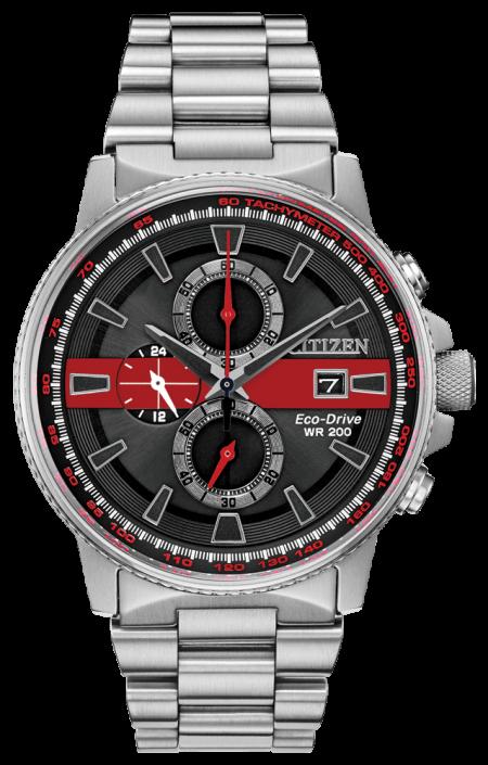 Citizen Men's Thin Red Line Watch Chronograph 200M WR Eco Drive CA0299-57E