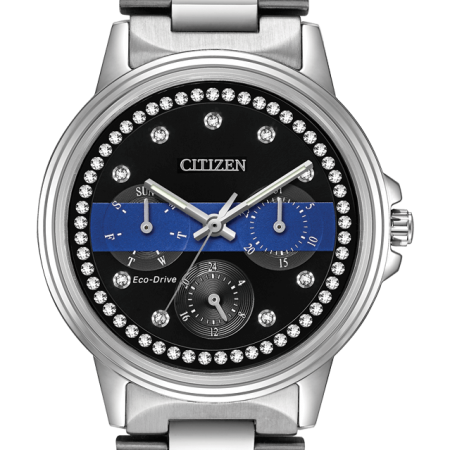 Citizen Ladies Thin Blue Line Multifunction Dial Crystal Women's Watch